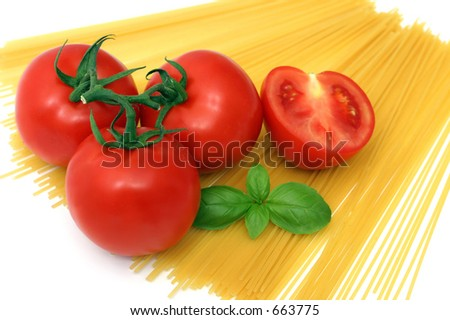 Pasta, basil and tomato on white background - stock photo
