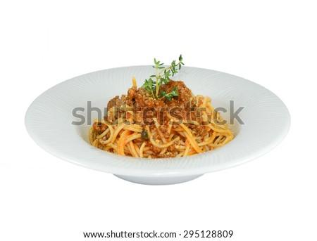 pasta bolognese italian isolated on white background. - stock photo