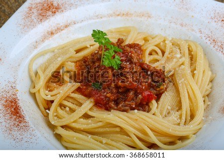 Pasta Bolognese - spaghetti with minced meat and tomato sauce - stock photo