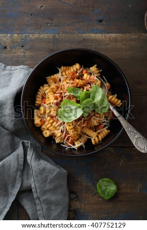 pasta bolognese with basil, food italian - stock photo