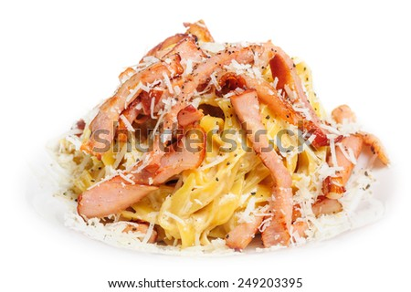 Pasta Carbonara with bacon and cheese - stock photo