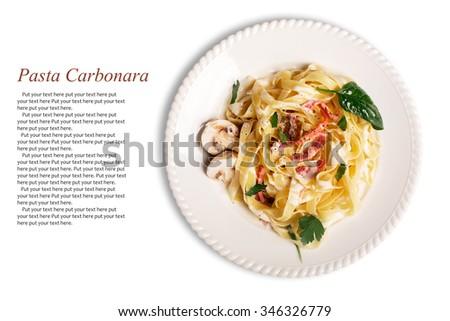 Pasta Carbonara with pancetta, mushrooms and sauce - stock photo