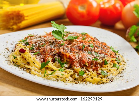 Pasta close-up, ingredients on background - stock photo