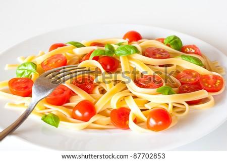 Pasta dish closeup - stock photo