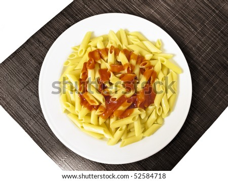 pasta dish with tomato sauce. - stock photo