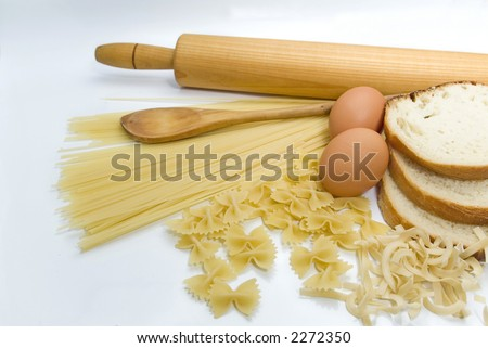 pasta eggs and kitchen tools - stock photo