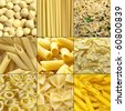 Pasta food collage useful as a background - stock photo