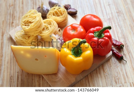Pasta. Healthy ingrediends in Italian traditional cousine. Mediterranean diet: a real healthy lifestyle. The best against free radicals and fat. - stock photo