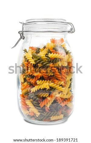 Pasta in a jar. Isolated on white background. - stock photo