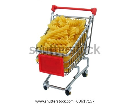 Pasta in Shopping Trolly - stock photo