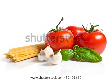 pasta ingredients isolated on white background - stock photo