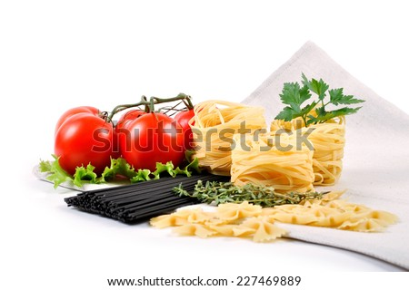 Pasta ingredients with fresh tomatoes on white background