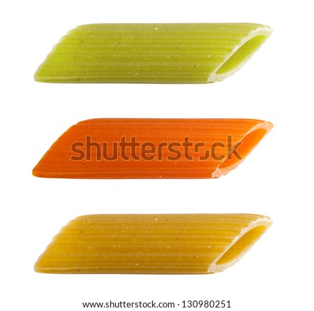 Pasta isolated, three colors. Clipping path. - stock photo