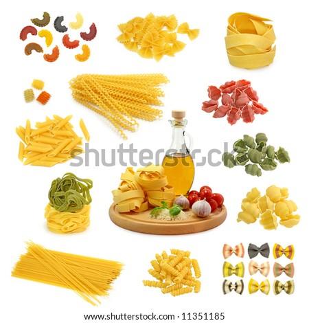 pasta mix  isolated on white background - stock photo