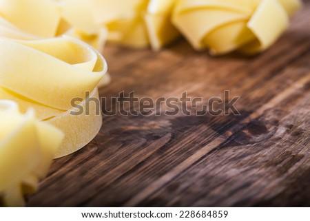 Pasta on the wooden - stock photo