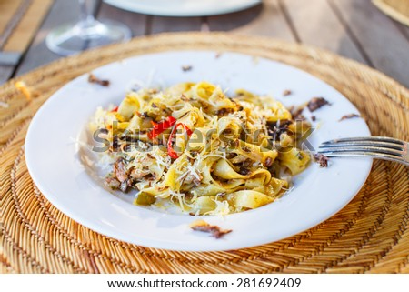 Pasta on white dish