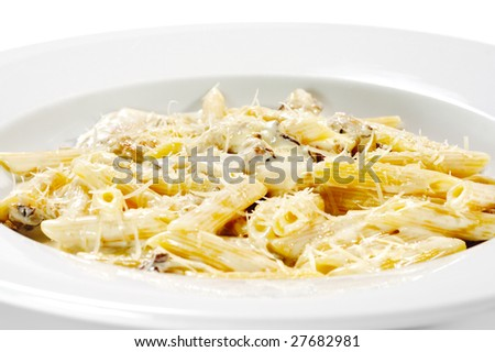 Pasta Pene with Mushrooms and Chicken Meat - stock photo