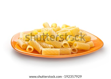 pasta Penne in plate isolated on white background - stock photo