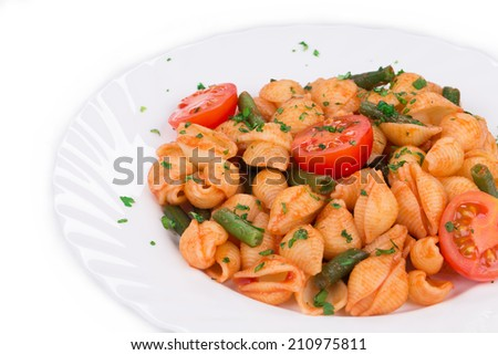 Pasta penne rigate with tomato sauce. Whole background. - stock photo