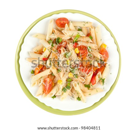 Pasta penne with vegetables isolated on white - stock photo