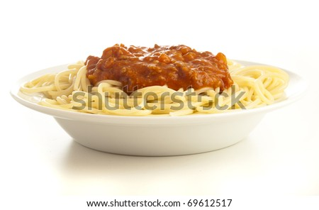 pasta plate isolated on a white background - stock photo