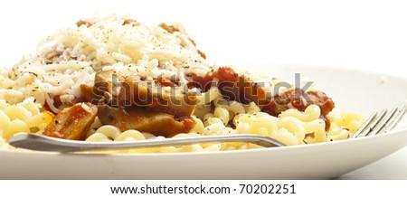 pasta plate on white background - stock photo