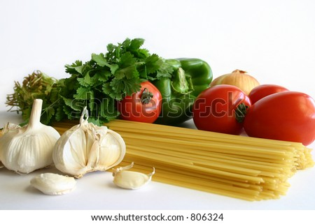 Pasta Preparation:  Ingredients for a delicious, nutritious meal. - stock photo