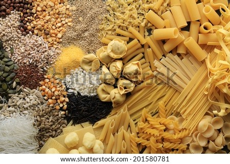 pasta rice beans pulses seeds - stock photo