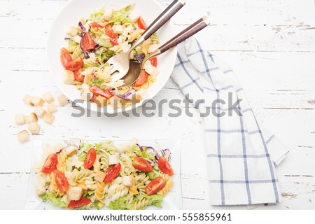 Pasta salad with tomatoes and vegetables