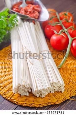 pasta , sauce and tomato - stock photo