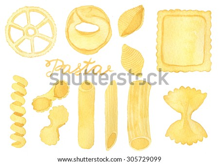 Pasta set. Hand-drawn kinds of italian pasta. Real watercolor drawing.
