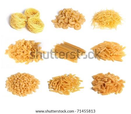 Pasta set on a white background - stock photo