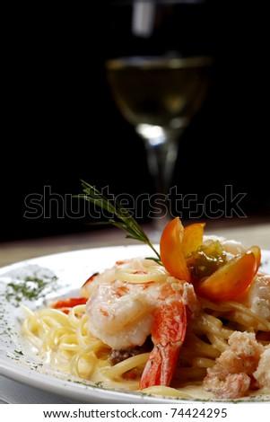 pasta, shrimp - stock photo