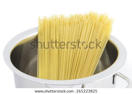 Pasta Spaghetti in Pot Pan on a White Background. - stock photo