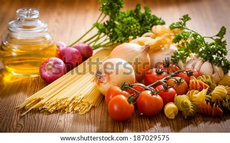 Pasta spaghetti  ingredient - stock photo