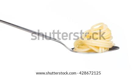 pasta spaghetti on spoon isolated on white background - stock photo