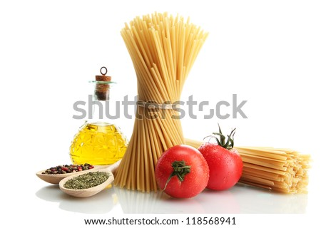 Pasta spaghetti, tomatoes and oil, isolated on white