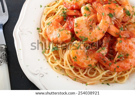 pasta spaghetti with prawns - stock photo