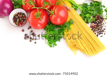 Pasta spaghetti with tomatoes, olive oil and basil on a white background - stock photo