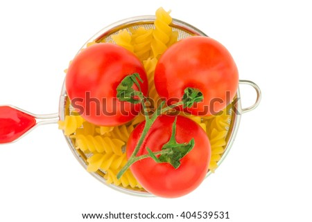 pasta strainer, isolation, not ready, tomatoes