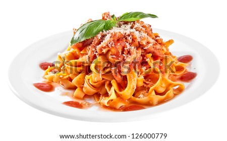 Pasta tagliatelle with tomato isolated on white background - stock photo