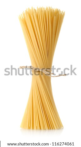 Pasta tied up by a rope isolated on a white background - stock photo