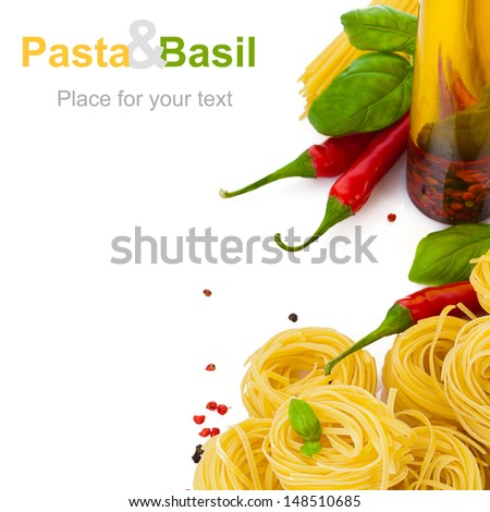 pasta with basil chili pepper and spicy olive oil on white background - stock photo