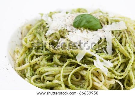 Pasta with basil pesto. - stock photo