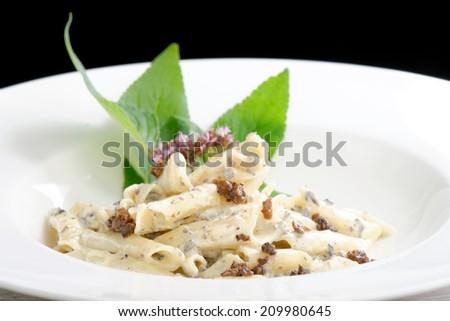 Pasta with black Truffles and cream sauce - stock photo