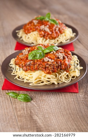 Pasta with  bolognese sauce - stock photo