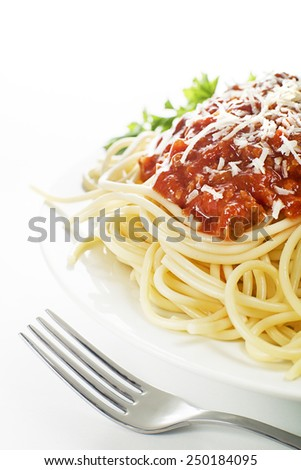 Pasta with bolognese sauce and parmesan cheese - stock photo