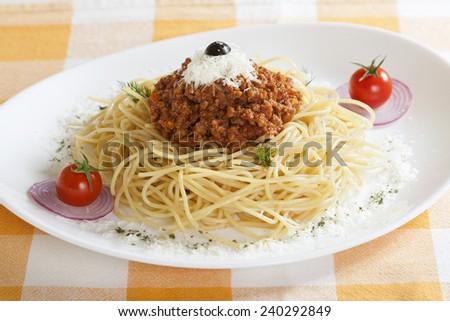 Pasta with Bolognese sauce - Spaghetti. - stock photo