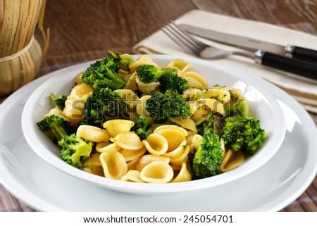 Pasta with broccoli - stock photo