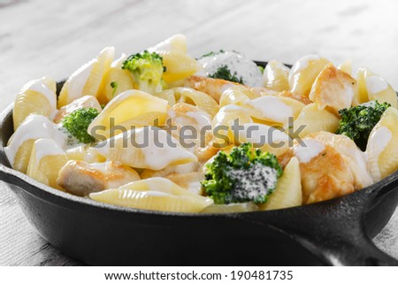 pasta with broccoli and chicken - stock photo